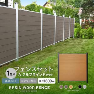人工木フェンス RESTA RESIN WOOD FENCE コンクリート施工 【基本セット】 A.フルブラインドtype H1800mm