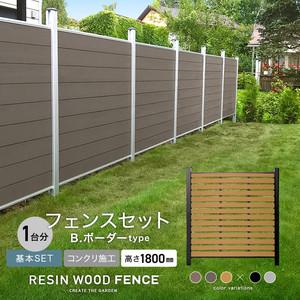 人工木フェンス RESTA RESIN WOOD FENCE コンクリート施工 【基本セット】 B.ボーダーtype H1800mm