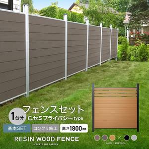 人工木フェンス RESTA RESIN WOOD FENCE コンクリート施工 【基本セット】 C.セミプライバシーtype H1800mm