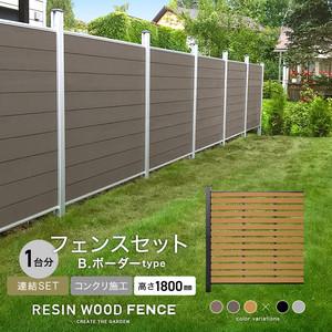 人工木フェンス RESTA RESIN WOOD FENCE コンクリート施工 【連結セット】 B.ボーダーtype H1800mm