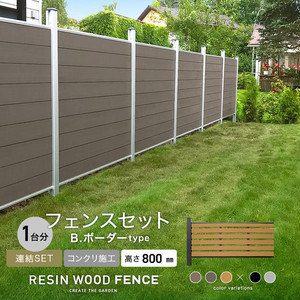 人工木フェンス RESTA RESIN WOOD FENCE コンクリート施工 【連結セット】 B.ボーダーtype H800mm