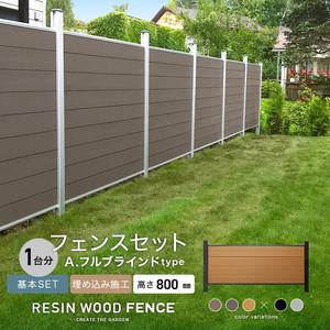 人工木フェンス RESTA RESIN WOOD FENCE 埋め込み施工 【基本セット】 A.フルブラインドtype H800mm