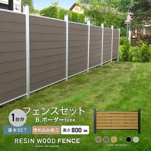 人工木フェンス RESTA RESIN WOOD FENCE 埋め込み施工 【基本セット】 B.ボーダーtype H800mm
