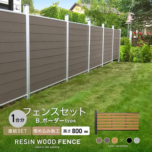 人工木フェンス RESTA RESIN WOOD FENCE 埋め込み施工 【連結セット】 B.ボーダーtype H800mm