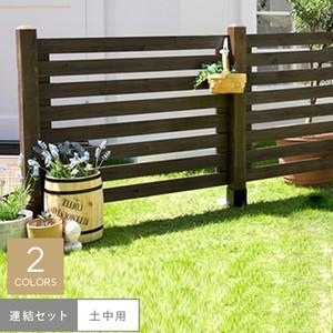ウッドフェンス(スプレッド)連結セット/土中用 1070×27×780mm