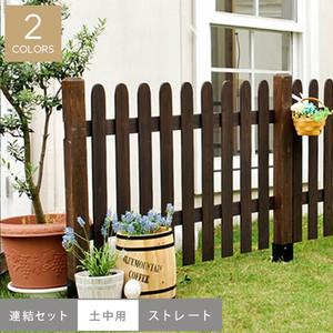 ピケットフェンス(ストレート)連結セット/土中用 1202×25×872mm