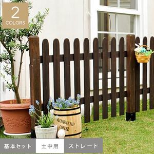 ピケットフェンス(ストレート)基本セット/土中用 1202×25×872mm