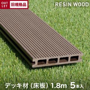 【旧規格品アウトレットverA】【5本セット】激安!RESTAオリジナル 人工木ウッドデッキ RESIN WOOD デッキ材(床板) 中空仕様 長さ1.8m
